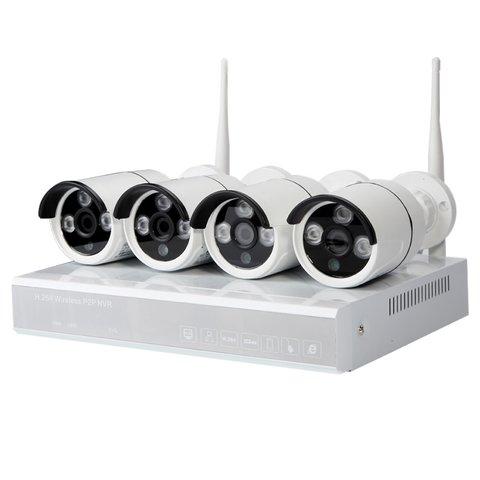 Комплект: мережевий відеореєстратор MIPCK0420 та 4 безпровідних IP камер спостереження 720p, 2 МП