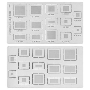 Universal BGA Stencil A801 for All Brands universal Cell Phone, (pitch 0,4 mm, 14 in 1)