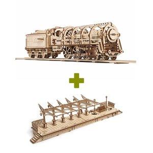 Mechanical 3D Puzzle UGEARS Bundle 2 in 1: Locomotive + Railway Platform